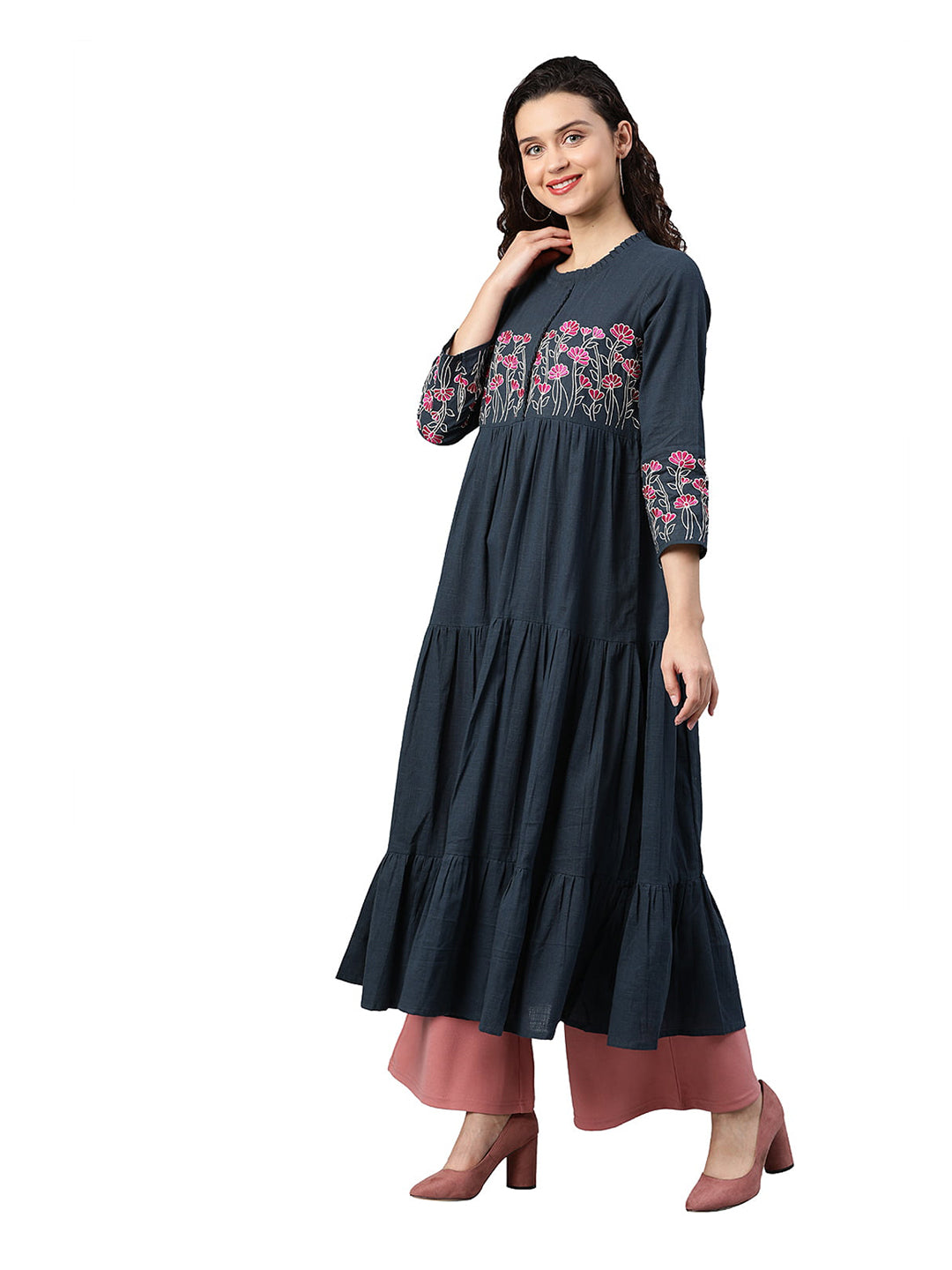 Anarkali - Rayon Embroidered Tiered Kurta (Grey).