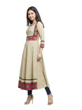 Kurta Anarkali Printed Cotton ( Beige )