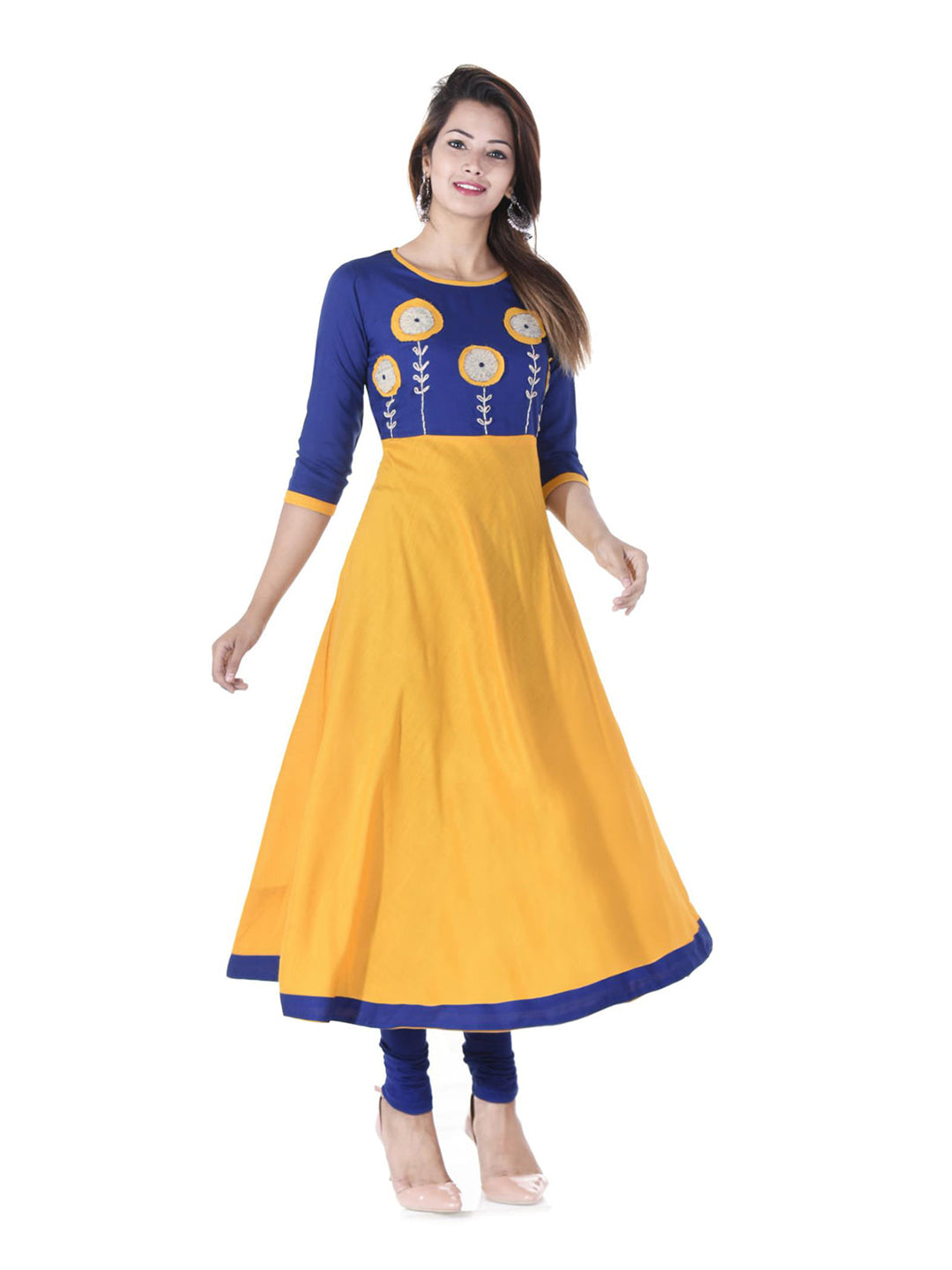 Anarkali -Rayon Patch Work Kurta ( Two-Toned )