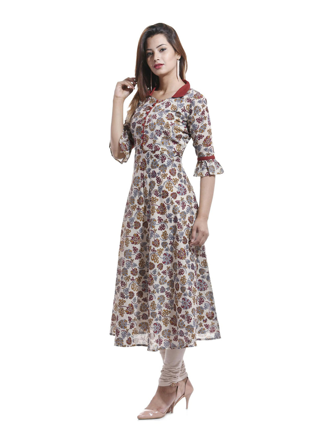 Anarkali -Cotton Floral Print Kurta