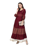 Anarkali -Rayon Gold Print Kurta (Purple)
