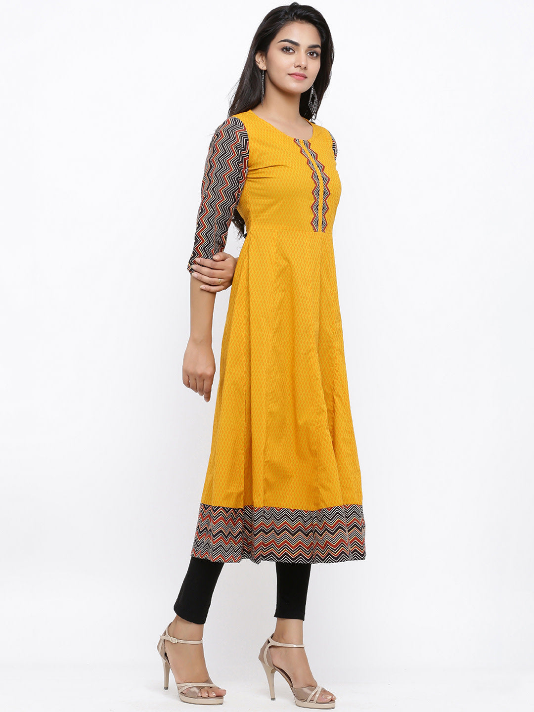 Printed Anarkali Kurta with Applique