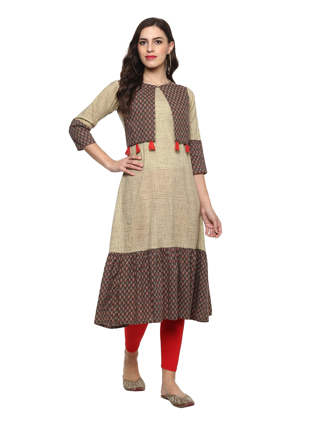 Kurta A-line Printed in  Beige / Brown
