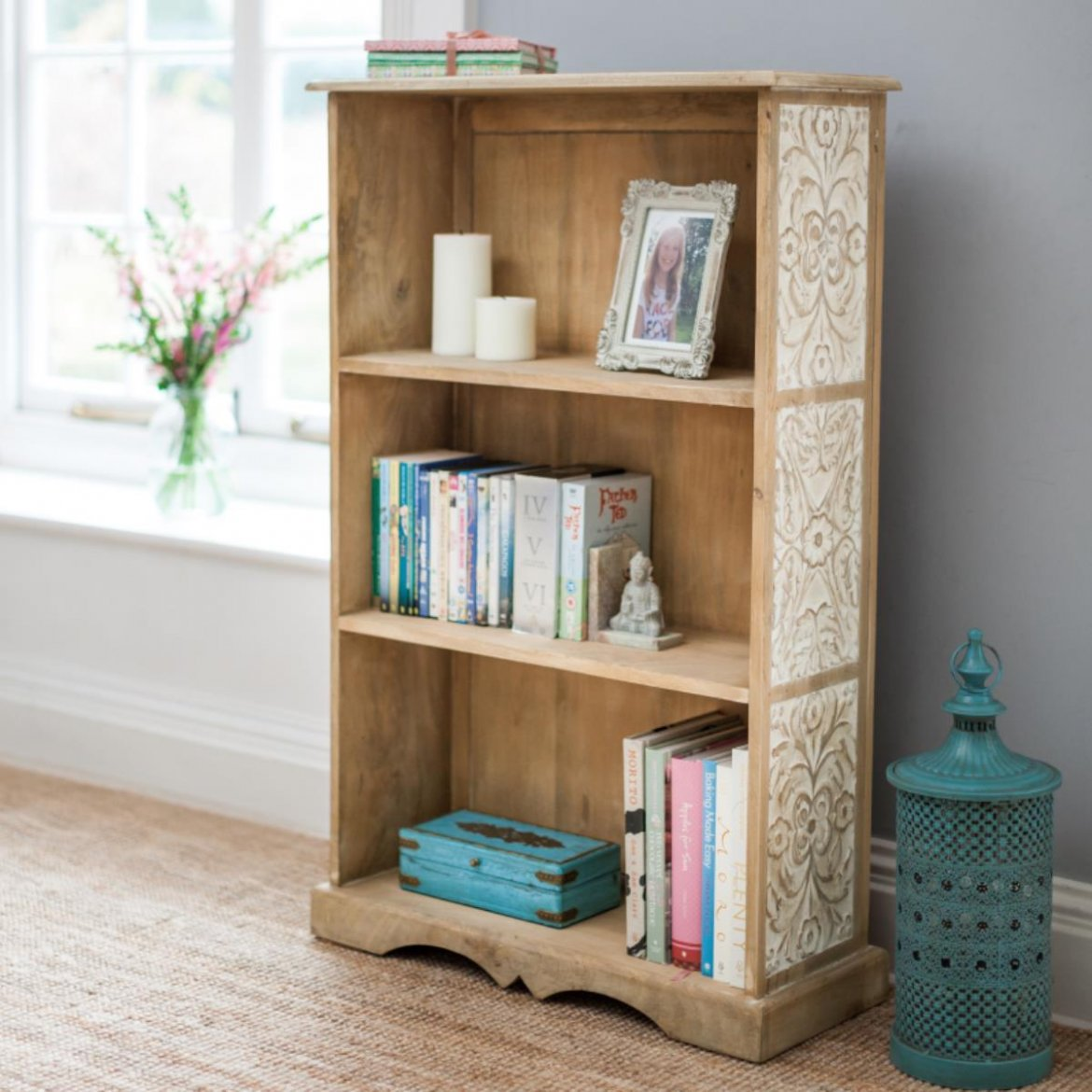 Bookcase Wooden — Carved Dahlia