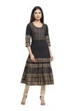 Anarkali Gold Print  Kurta (Black)