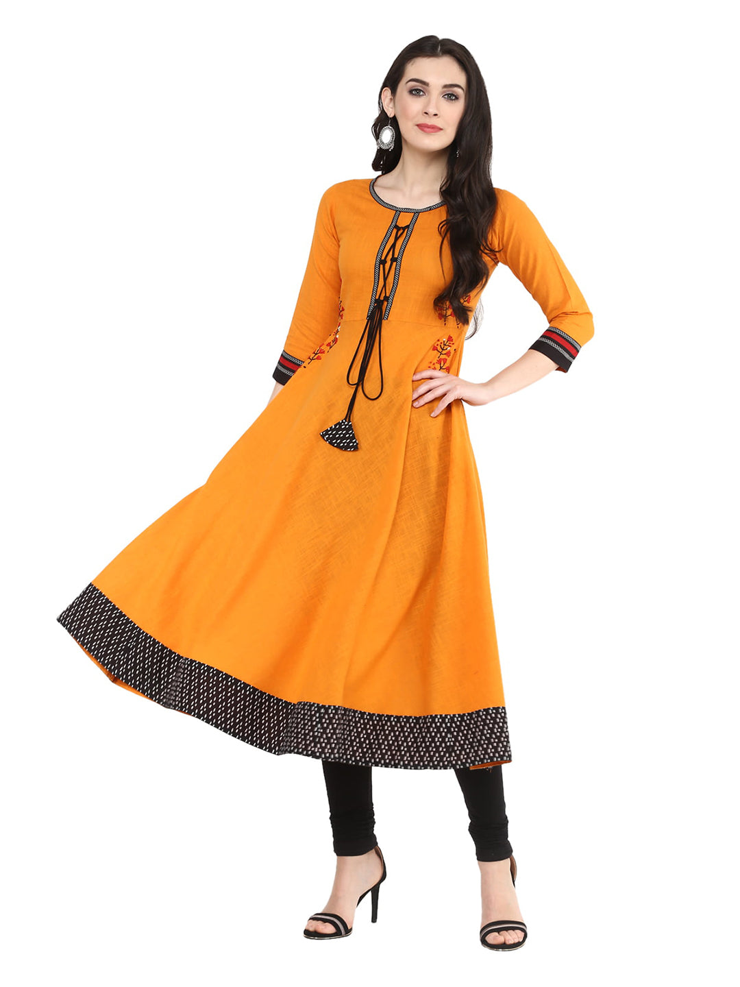 Cotton Embroidered Anarkali Kurta ( Mustard Yellow )