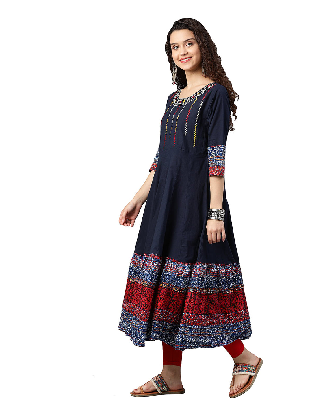 Kurta - Cotton Embroidered Anarkali  (Blue)