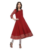 Anarkali - Printed Cotton Maroon Kurta