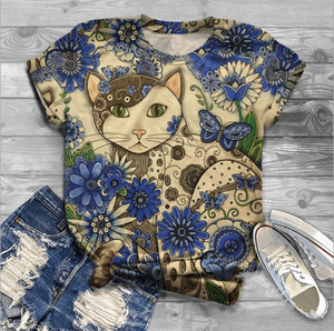 Women's Cat 3D Printed Short Sleeve T-Shirt Plus Size