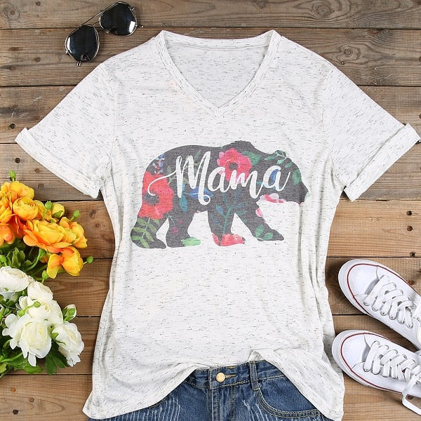 Women's V-Neck Floral Mama Bear Casual T-Shirt