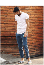 Load image into Gallery viewer, Men's Short Sleeve Shirts Linen Slim Fit Collarless Shirts
