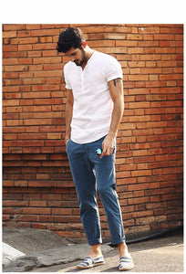 Men's Short Sleeve Shirts Linen Slim Fit Collarless Shirts