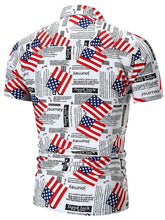 Load image into Gallery viewer, Men's American Flag Letter Print Short Sleeve Shirt