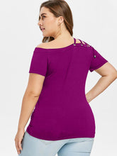 Load image into Gallery viewer, Plus Size Off The Shoulder Strappy Women Casual T-shirt