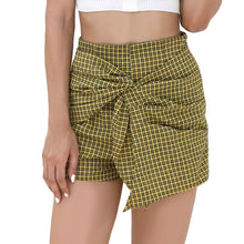 Load image into Gallery viewer, Women's Plaid Tied Layered Side Zipper Mini Shorts