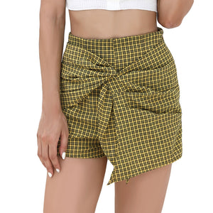 Women's Plaid Tied Layered Side Zipper Mini Shorts