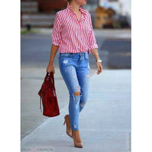 Load image into Gallery viewer, Women's Vintage Shirts Turn Down Collar Long Sleeve Casual Top
