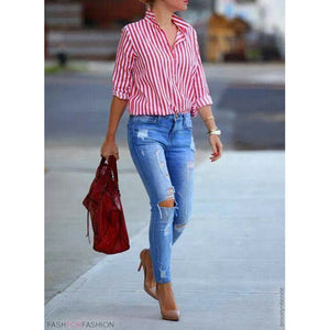 Women's Vintage Shirts Turn Down Collar Long Sleeve Casual Top
