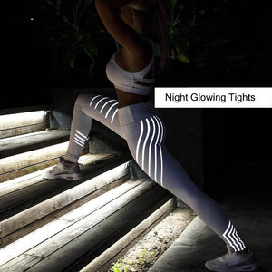 Women's Quick Dry Glow Striped Fitness Leggings