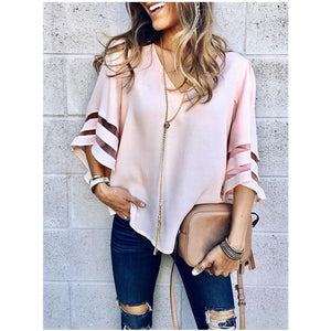 Women's Casual Loose V Neck Chiffon Half Sleeve Blouse