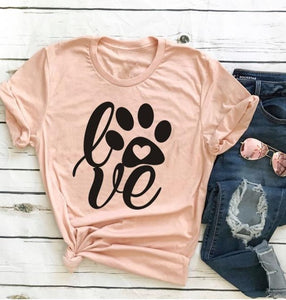 Women's Love Paw Print Graphic T-Shirt