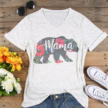 Load image into Gallery viewer, Women's V-Neck Floral Mama Bear Casual T-Shirt