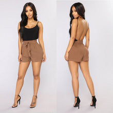 Load image into Gallery viewer, Women's High Elastic Waist Belted Loose Shorts