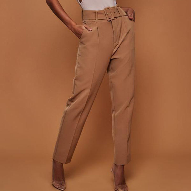 Women's Casual Pants High Waist Belted Straight Leg Slacks