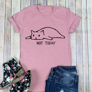 Women's Not Today Cute Slack Cat Printed Funny T-Shirts