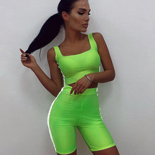 Load image into Gallery viewer, Women's Two Piece Set Reflective Side Striped Crop Top Elastic Shorts Tracksuit