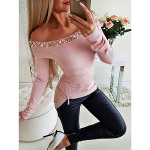 Women's Off Shoulder Beading Fashion Shirt Slim Fit Long Sleeve w/Zipper