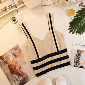 Women's Fashion Stripe Tank Knitted Stretchy Crop Top