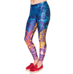 Women's Colorful Tribal Flower Print Leggings