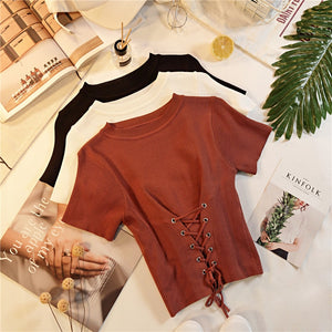 Women's Knitted Short Sleeve Back Lace Up Crop Top