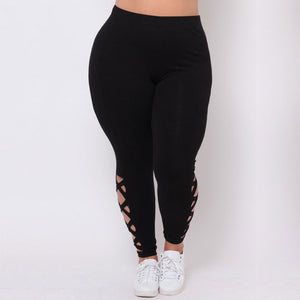 Plus Size Women's Leggings Solid Criss-Cross Hollow Out Leggings