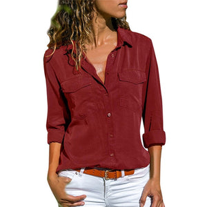 Women's Casual Long Sleeve Shirt w/Pockets Plus Size Tops