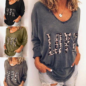 Women's Leopard Letter LOVE Print Loose Long Sleeve Pullover
