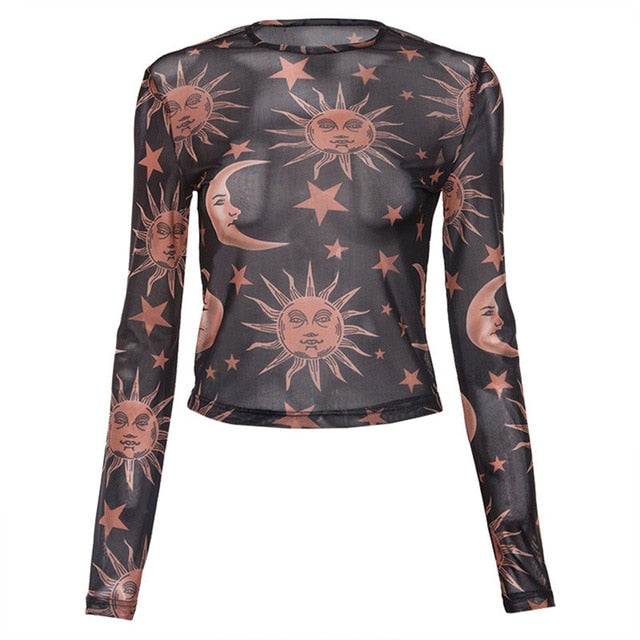 Women's Sun Moon Printed Transparent Mesh Long Sleeve Casual Tops
