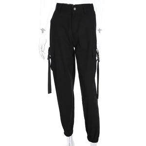 Women's Black Cargo Pants Loose Streetwear Hip Hop Trousers