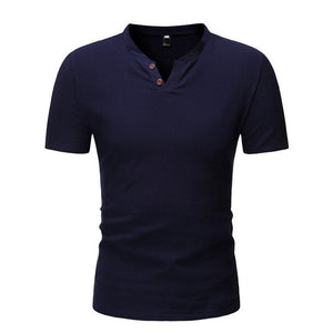 Men's Casual Linen Henley Slim Fit Shirt