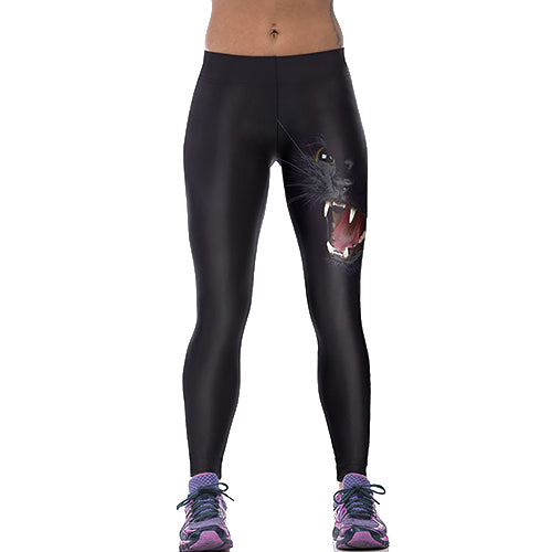 Women's Black Cat Printed Leggings