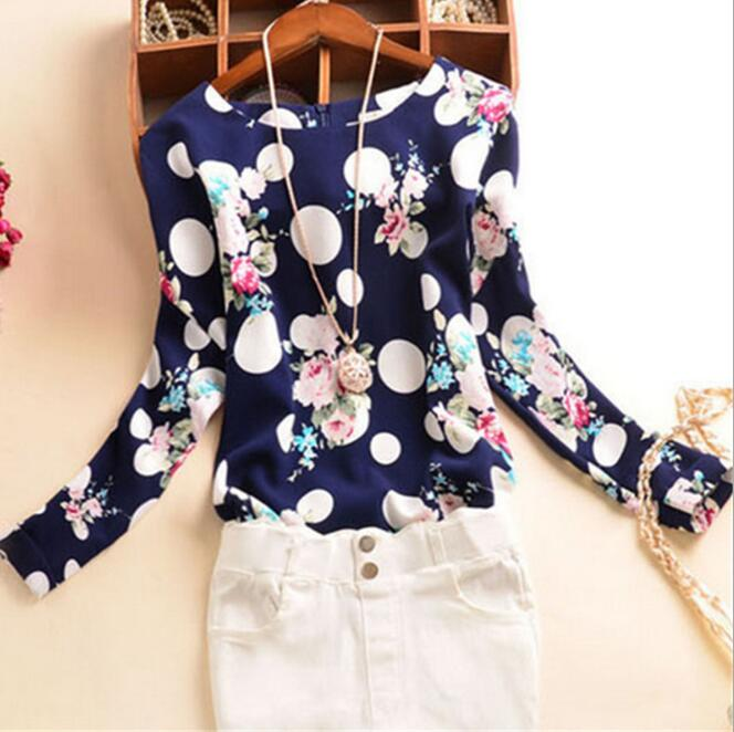 Lady's Polka Dots Floral Printed Shirts Long Sleeve Casual Blouse