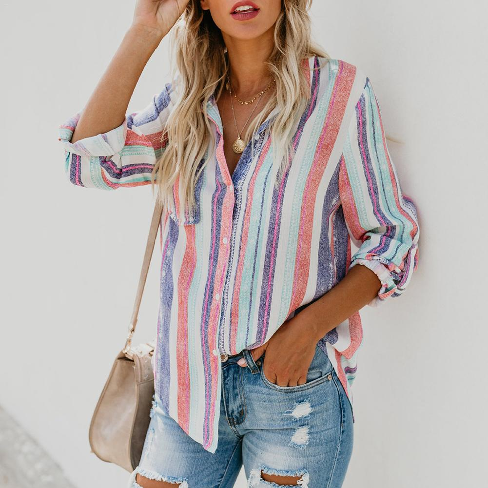 Women's Casual Shirt Multi-color Striped Button-up Cuffed Sleeve Loose Shirt