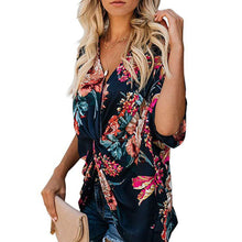 Load image into Gallery viewer, Women's Bohemia Style Floral Printed V Neck Ruched Twist Casual Shirts