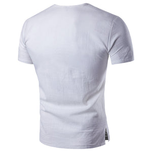 Men's Short Sleeve Casual T-shirt Hemp Material Shirts