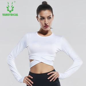 Women's Yoga Long Sleeve Quick Dry Fitness Crop Tops Sports Shirt