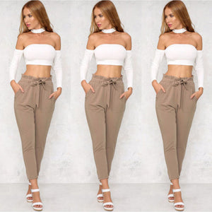 Women's High Waist Harem Pants Casual Ankle-Length Capri Pencil Pants