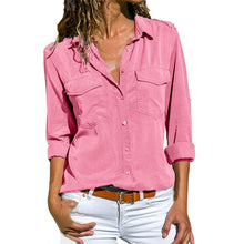 Load image into Gallery viewer, Women's Casual Long Sleeve Shirt w/Pockets Plus Size Tops