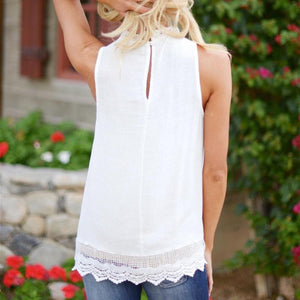 Women's Fashion Lace Sleeveless Top Casual Loose Summer Tops