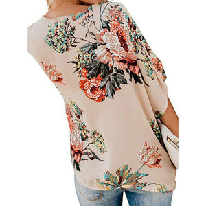 Women's Bohemia Style Floral Printed V Neck Ruched Twist Casual Shirts